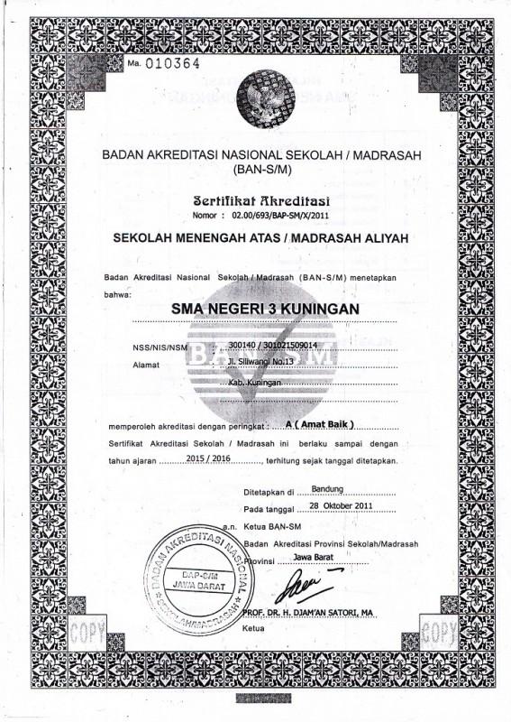 Akreditasi SMAN 3 Kuningan 2011